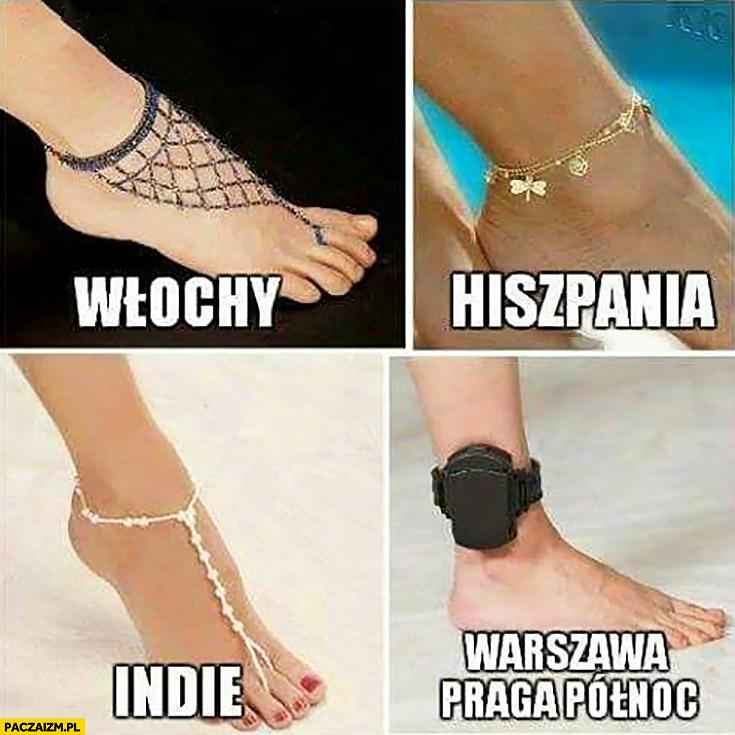 Włochy, Hiszpania, Indie, Warszawa Praga Północ biżuteria na stopie dozór policyjny