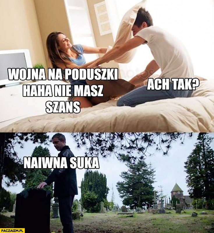 Wojna na poduszki haha nie masz szans z żoną dziewczyną, jaka naiwna odwiedza jej grób