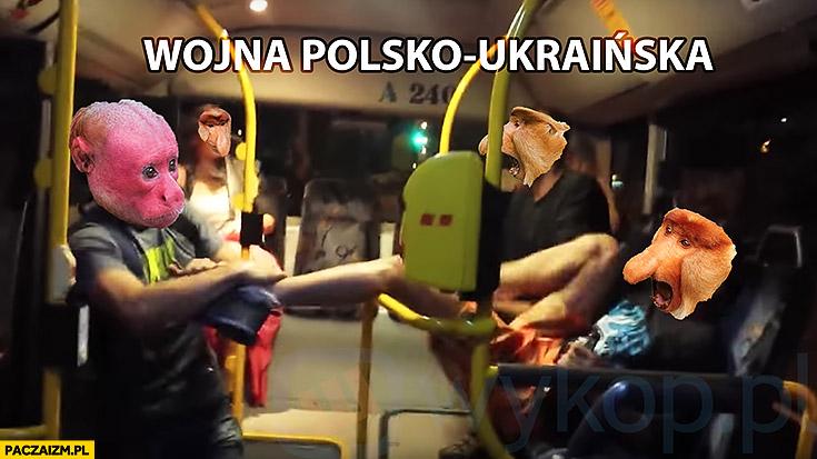 Wojna Polsko-Ukraińska w autobusie typowy Polak nosacz małpa