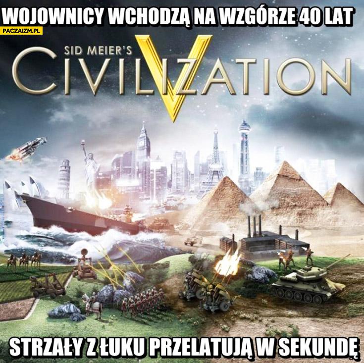 Wojownicy wchodzą na wzgórze 40 lat strzały z łuku przelatują w sekundę Cywilizacja Civilization
