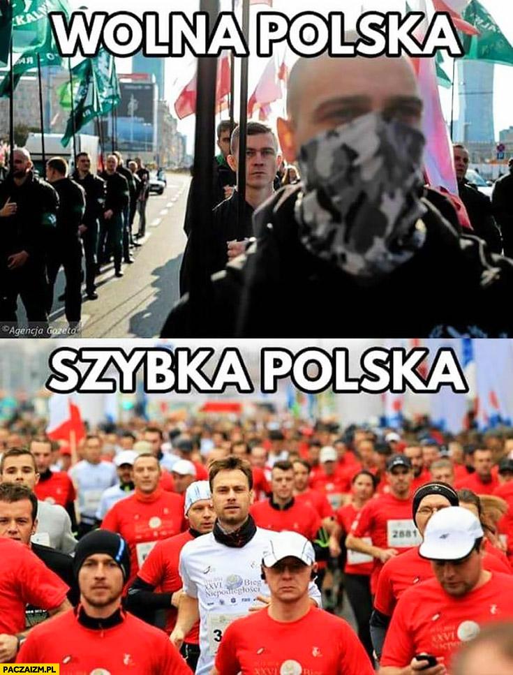 Wolna polska narodowcy na marszu szybka polska biegacze maraton