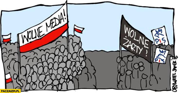 Wolne media, wolne żarty dwie grupy protestujące PiS