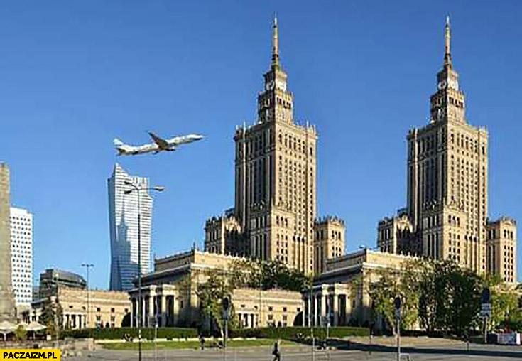World Trade Center pałac kultury PKiN samolot leci przeróbka
