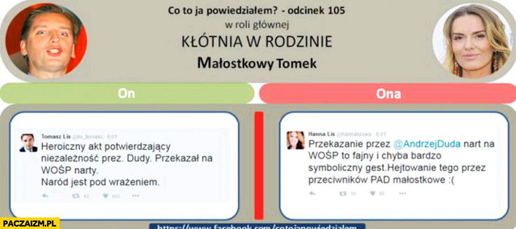 Wpis na twitterze o WOŚP Tomasz Lis, Hanna Lis: hejtowanie PAD małostkowe