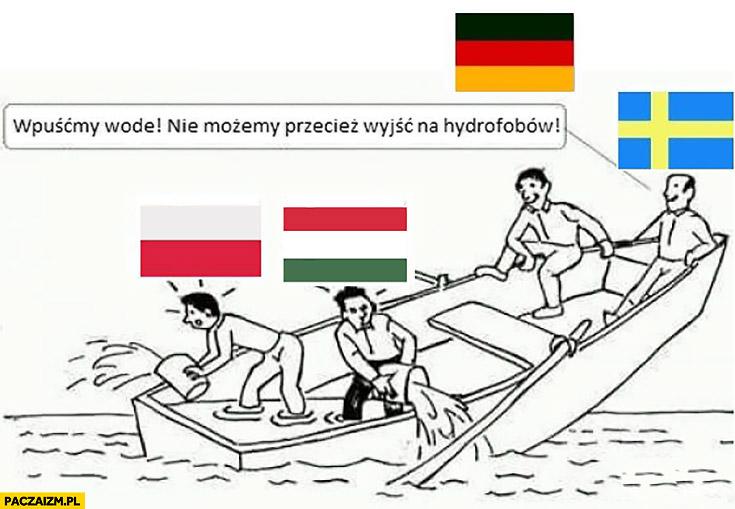 Wpuśćmy wodę na pokład, nie możemy przecież wyjść na hydrofobów. Niemcy Szwecja tonąca łódź Polska Węgry wylewają
