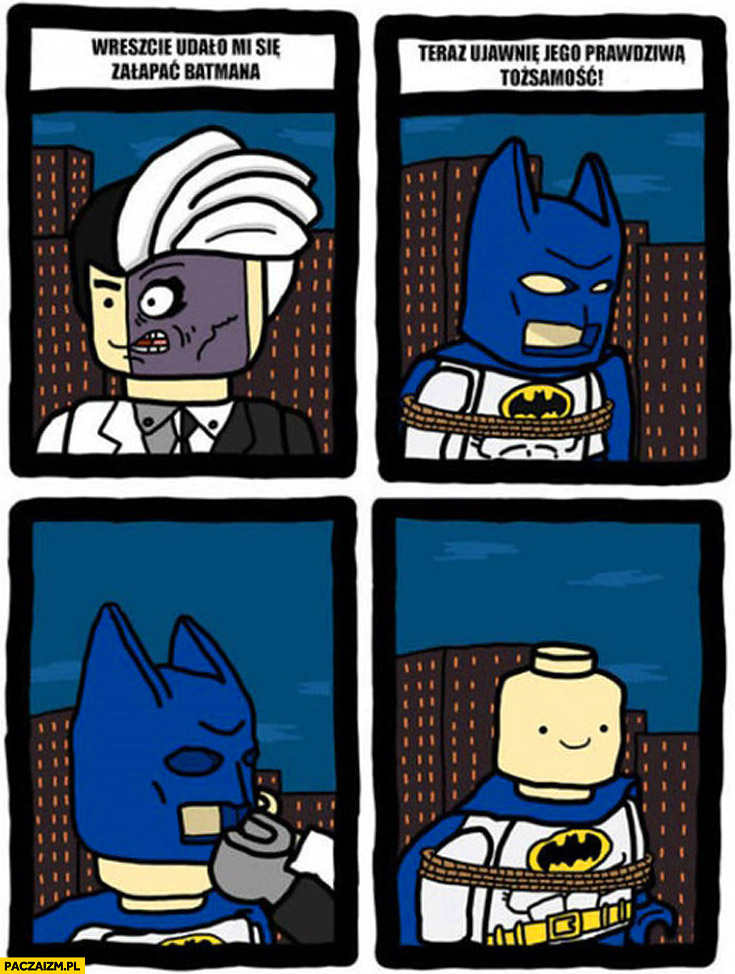 Wreszcie udało mi się złapać Batmana teraz ujawnię jego prawdziwą tożsamość LEGO