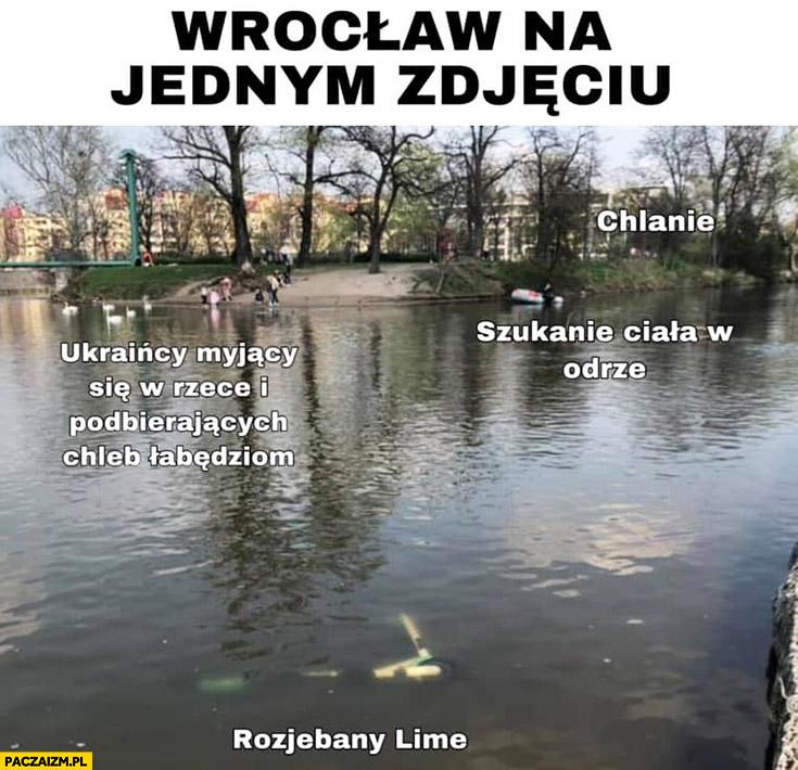 Wrocław na jednym zdjęciu: szukanie ciała w Odrze, chlanie, rozwalony Lime, Ukraińcy myjący się w rzece