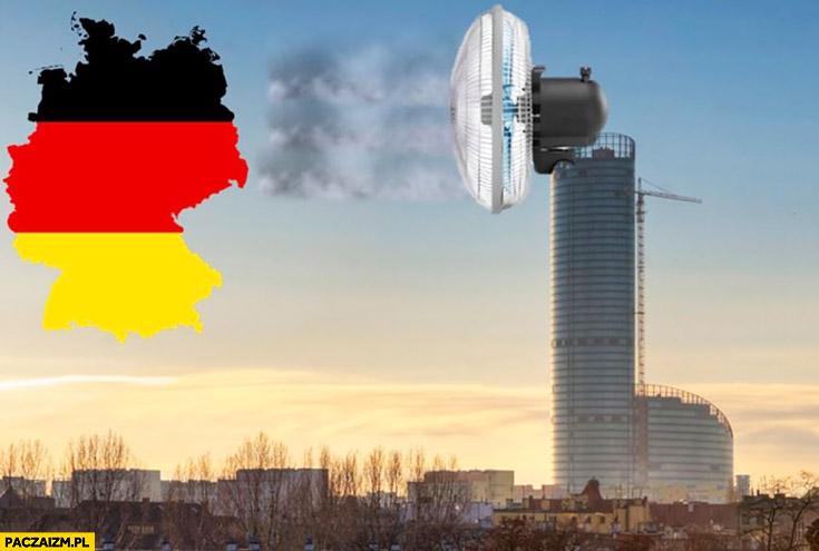 Wrocław rozwiązał problem smogu – wielki wiatrak dmucha na Niemcy
