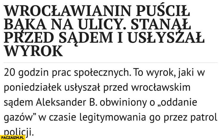 Wrocławianin puścił bąka w czasie legitymowania przez policje sąd skazał na 20 godzin prac społecznych