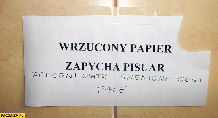 Wrzucony papier zapycha pisuar zachodni wiatr spienione goni fale