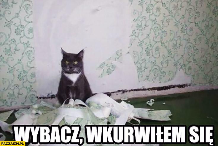 Wybacz wkurwiłem się kot zerwał tapetę ze ściany