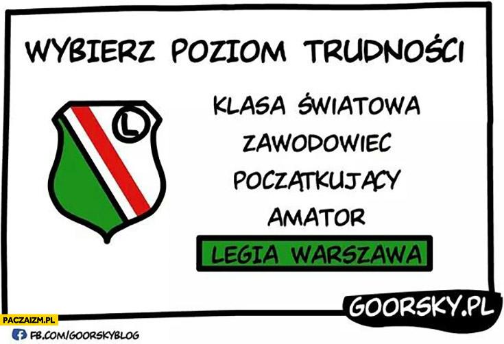 Wybierz poziom trudności: klasa światowa, zawodowiec, początkujący, amator, Legia Warszawa. Goorsky