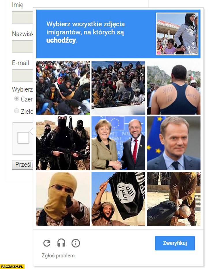 Wybierz wszystkie zdjęcia imigrantów na których są uchodźcy captcha Google