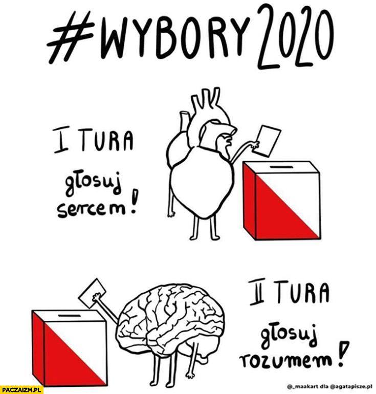 Wybory 2020: 1. tura głosuj sercem, 2. tura głosuj rozumem