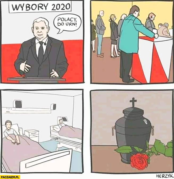Wybory 2020 Kaczyński Polacy do urn potem umierają w szpitalu komiks