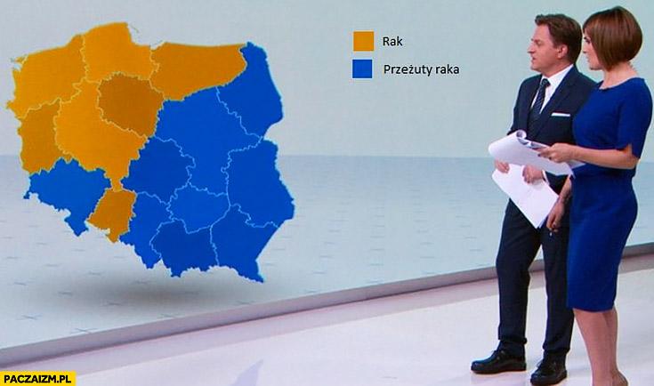 Wybory wyniki wyborów mapa Polski grafika rak przerzuty raka infografika TVN