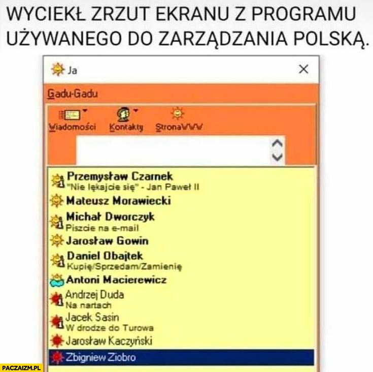 Wyciekł zrzut ekranu z programu używanego do zarządzania Polską gadu gadu