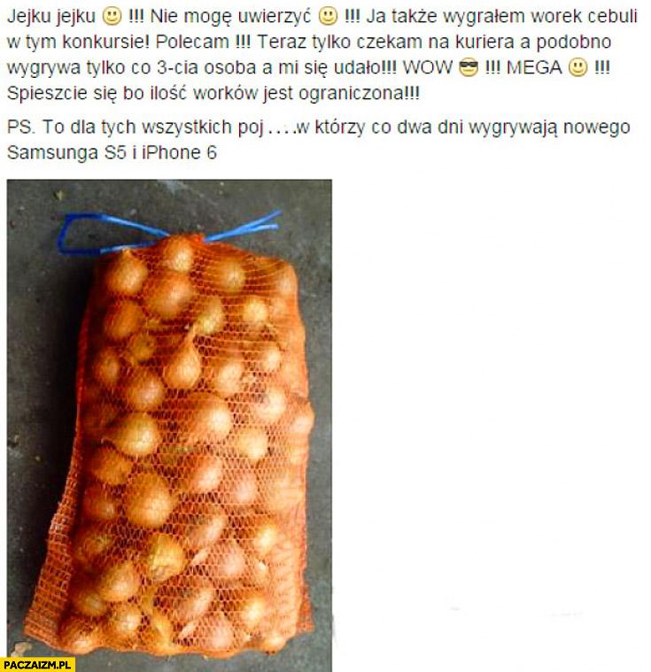 Wygrałem worek cebuli w konkursie