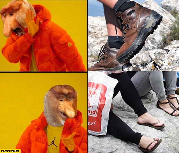 Wyjście w góry japonki zamiast butów górskich typowy Polak małpa nosacz