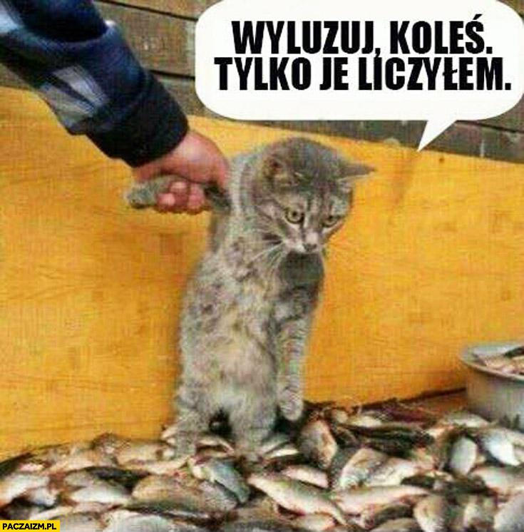 Wyluzuj koleś tylko je liczyłem kot ryby