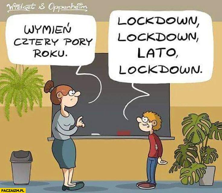 Wymień cztery pory roku: lockdown, lato, lockdown