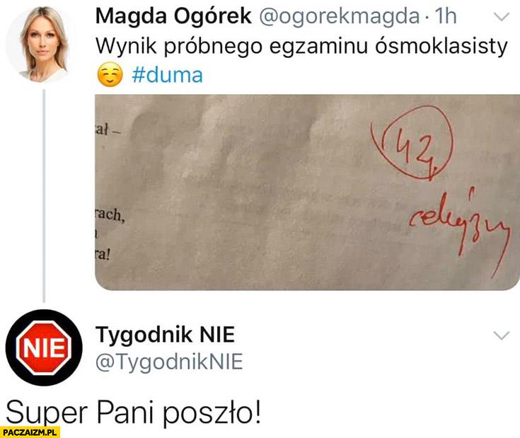 Wynik próbnego egzaminu ósmoklasisty Magdalena Ogórek super pani poszło tygodnik Nie