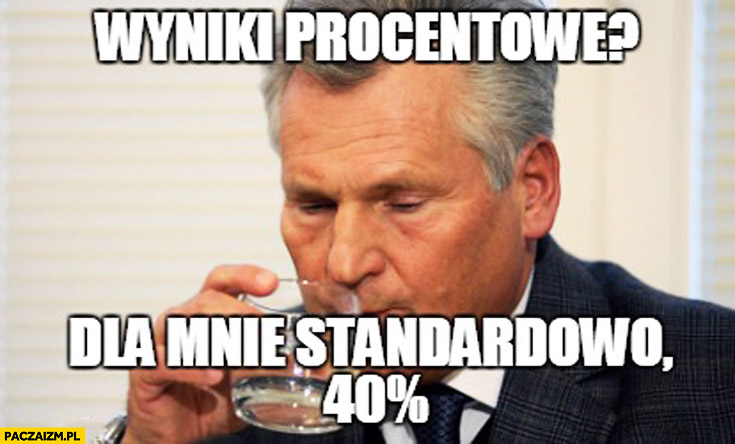 Wyniki procentowe dla mnie standardowo 40% procent Kwaśniewski