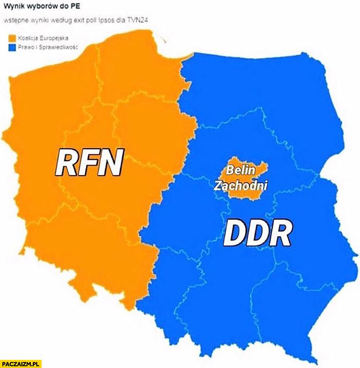 Wyniki wyborów do PE Parlamentu Europejskiego Polska podzielona jak Niemcy RFN DDR