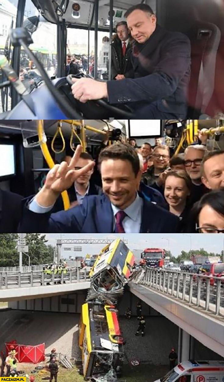 Wypadek autobusu w Warszawie Andrzej Duda prowadzi, Trzaskowski w środku