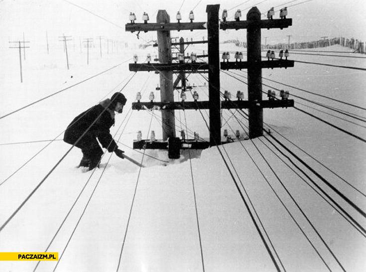 Wysoki śnieg na Syberii