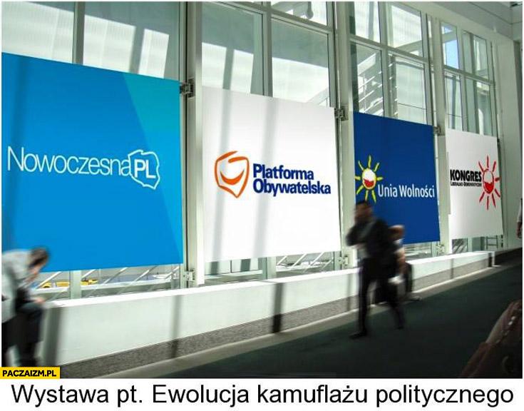 Wystawa ewolucji kamuflażu politycznego Unia Wolności Platforma Nowoczesna PL
