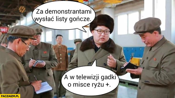 Za demonstrantami wysłać listy gończe, a w telewizji gadki o misce ryżu+ plus Kim Jong Un Korea Północna PiS