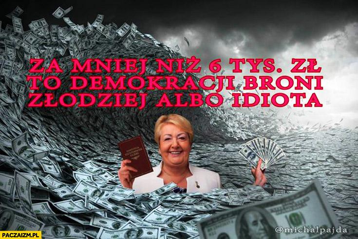 Za mniej niż 6 tys zł to demokracji broni złodziej albo idiota Krzywonos