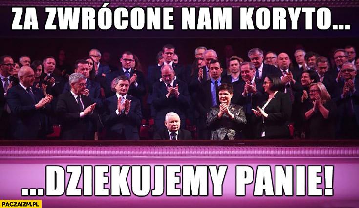 Za zwrócone nam koryto dziękujemy Panie Kaczyński PiS