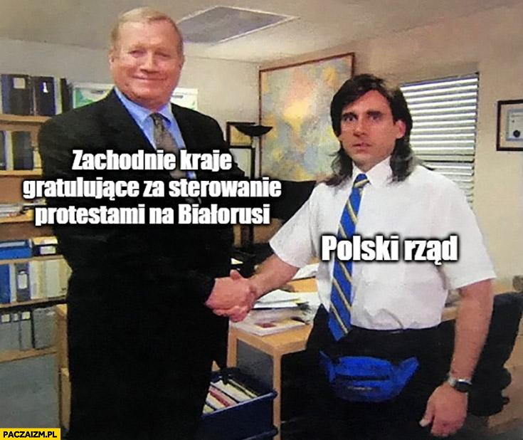 Zachodnie kraje gratulujące za sterowanie protestami na Białorusi, Polski rząd nie rozumie