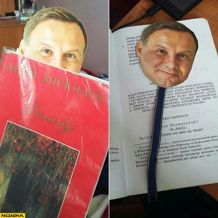 Zakładka do książki głowa Andrzeja Dudy