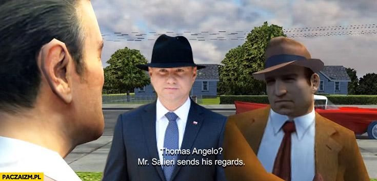 Zakończenie gry Mafia Andrzej Duda w kapeluszu