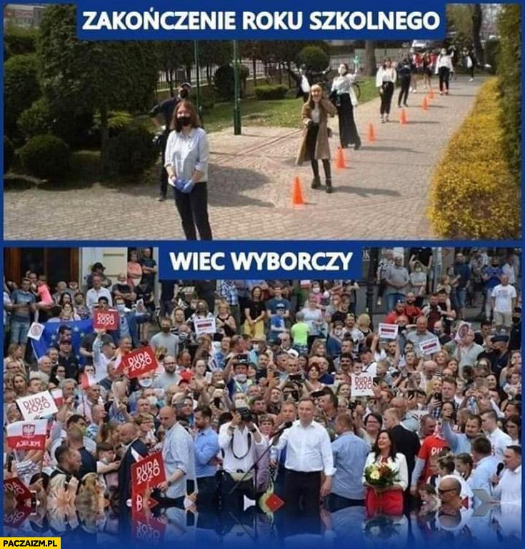Zakończenie roku szkolnego vs wiec wyborczy Andrzeja Dudy zachowanie odległości