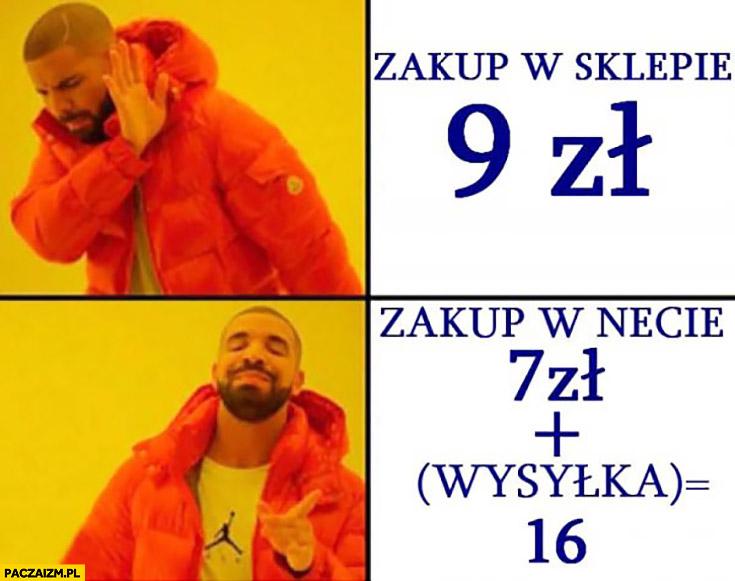 Zakup w sklepie 9zł, zakup w necie 7zł plus wysyłka razem 16zł Drake