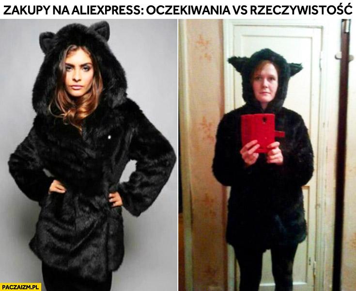 Zakupy na aliexpress: oczekiwania vs rzeczywistość strój kota