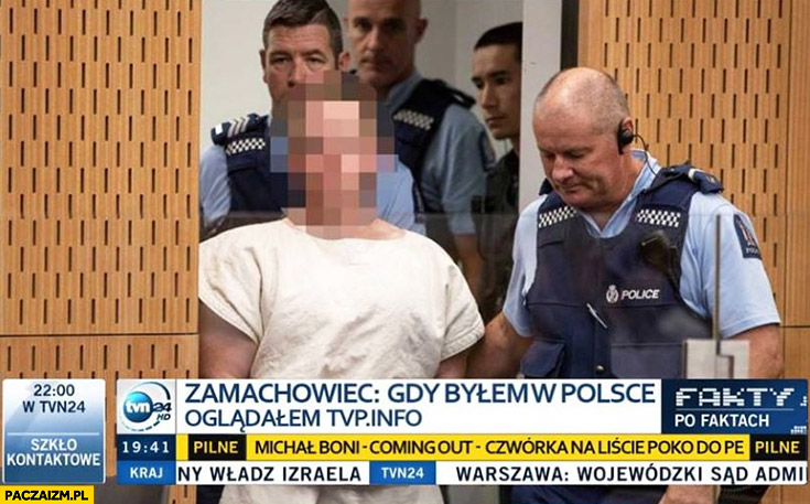Zamachowiec z Nowej Zelandii Australii gdy byłem w Polsce oglądałem TVP Info pasek Fakty TVN