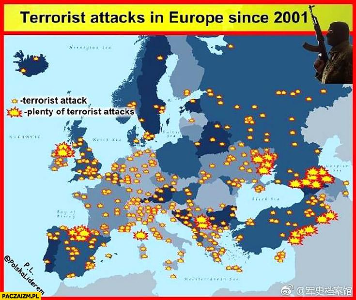 Zamachy terrorystyczne w Europie od roku 2001 mapa mapka infografika