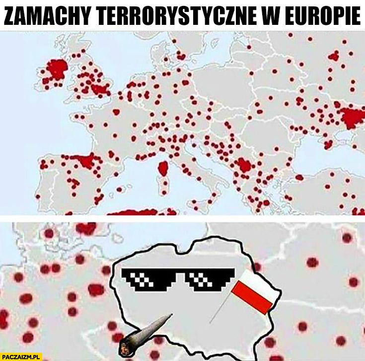 Zamachy terrorystyczne w Europie Polska okulary thug life