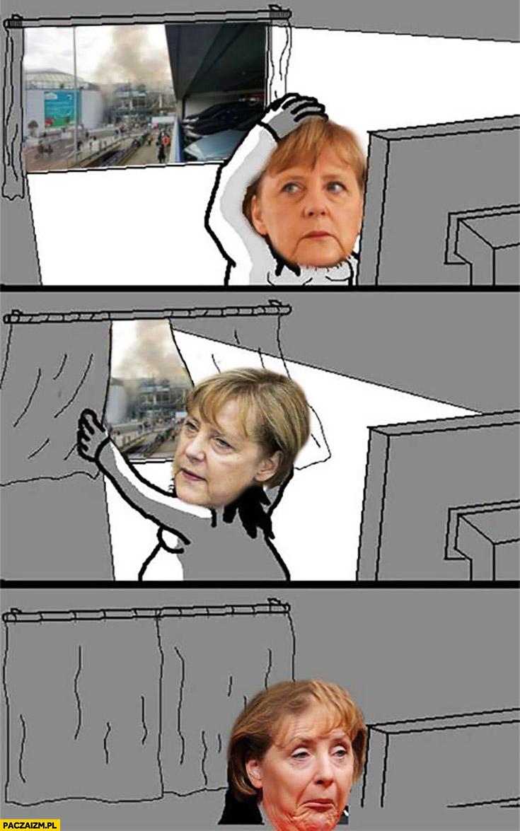 Zamachy za oknem Merkel zasuwa zasłony ignoruje komiks