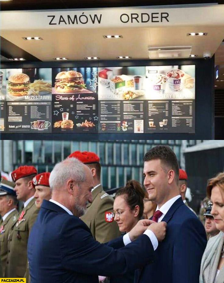 Zamów order Misiewicz dostaje order od Macierewicza McDonald's