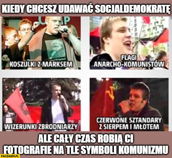 Zandberg kiedy chcesz udawać socjaldemokratę, ale cały czas robią Ci zdjęcia na tle symboli komunizmu