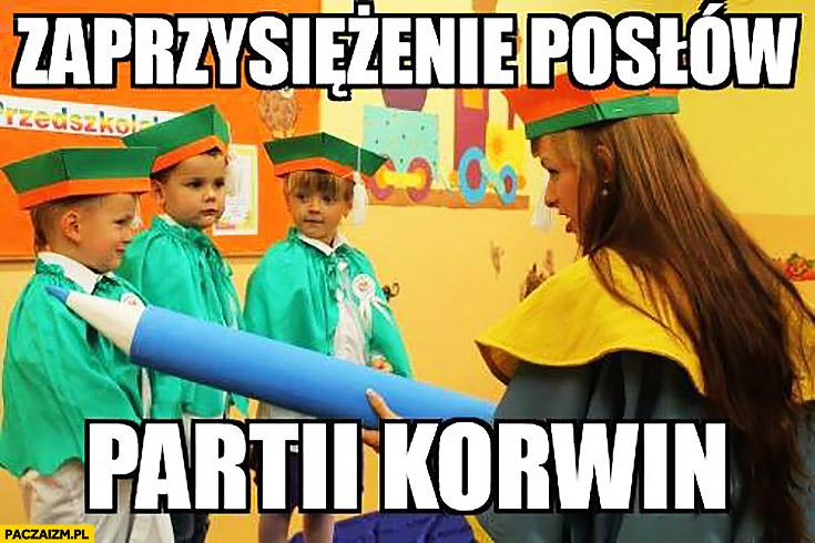 Zaprzysiężenie posłów partii Korwin dzieci w przedszkolu