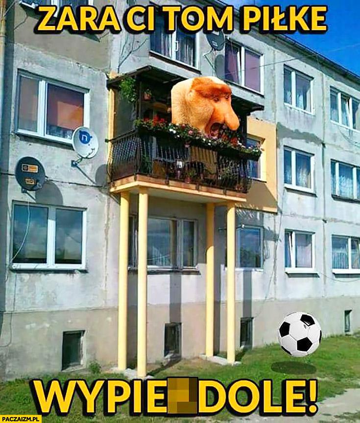 Zara ci tom piłkę wypierdzielę typowy Polak nosacz małpa z balkonu