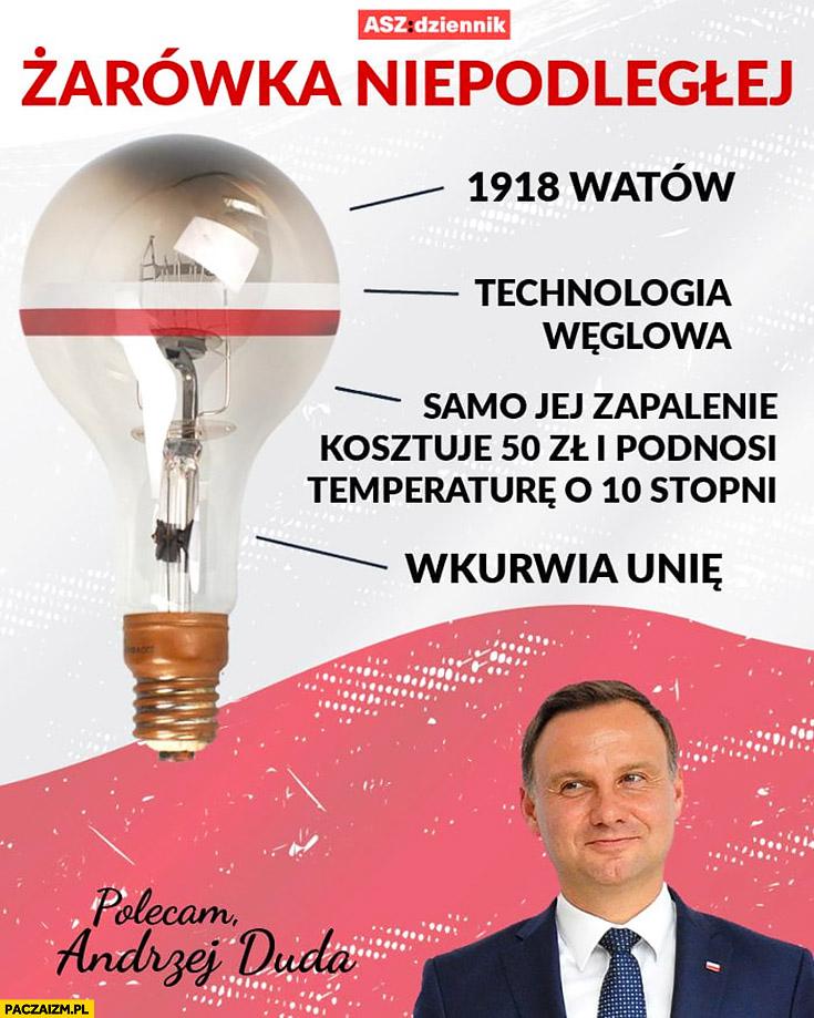 Żarówka niepodległej Polski 1918 watów, wkurwia Unię, technologia węglowa, samo zapalenie kosztuje 50 zł i podnosi temperaturę o 10 stopni. Polecam Andrzej Duda
