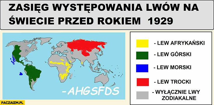 Zasięg występowania lwów na świecie przed rokiem 1929 wyłącznie lwy zodiakalne Ahgsfds